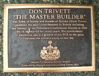 Don Trivett Mayor's Community Builder Award Marker image. Click for full size.