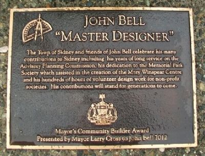 John Bell Mayor's Community Builder Award Marker image. Click for full size.