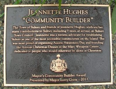 Jeannette Hughes Mayor's Community Builder Award Marker image. Click for full size.