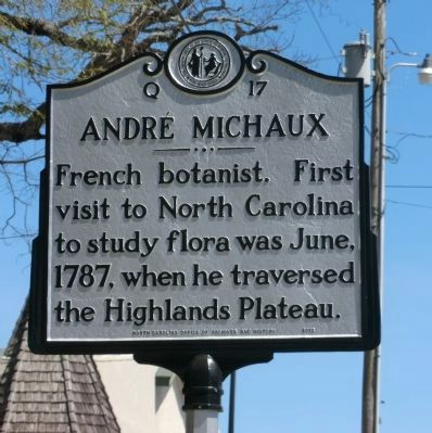 Andre' Michaux Marker image. Click for full size.