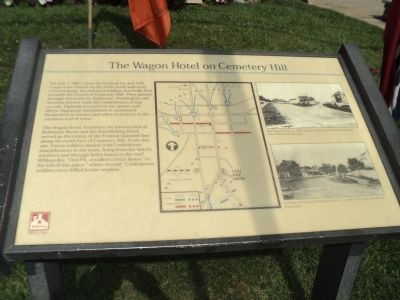 The Wagon Hotel on Cemetery Hill Marker image. Click for full size.