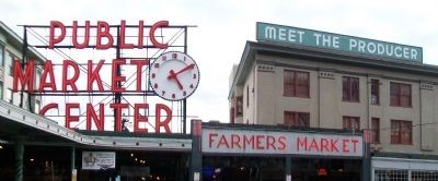 Pike Place Market Clock and Signs image. Click for full size.