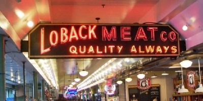 Pike Place Market Meat Market Sign image. Click for full size.