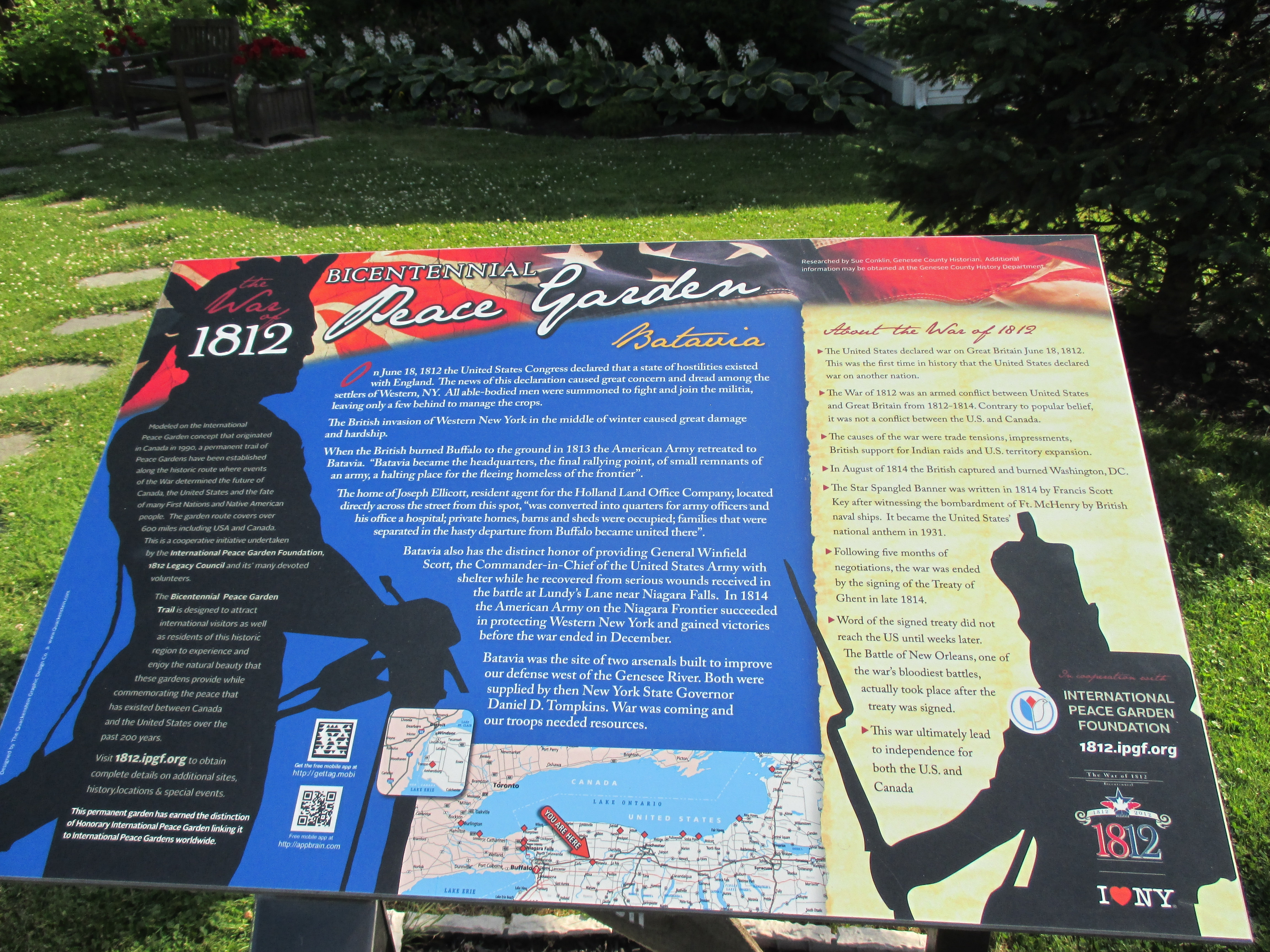 War of 1812 Peace Garden Plaque