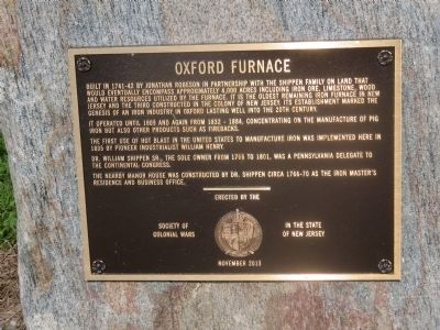 Oxford Furnace Marker image. Click for full size.