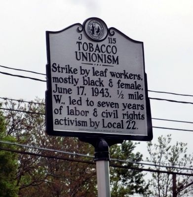 Tobacco Unionism Marker image. Click for full size.
