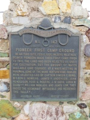 Pioneer First Camp Ground Marker image. Click for full size.