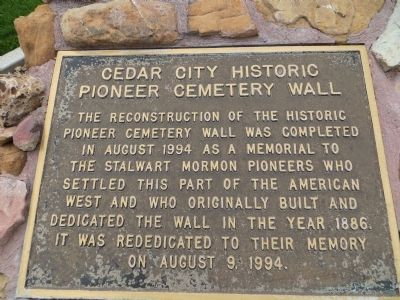 Cedar City Historic Pioneer Cemetery Wall Marker image. Click for full size.