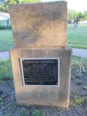 Lewiston Academy Marker and Cornerstone image. Click for full size.