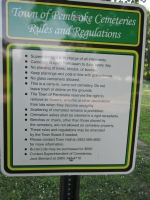 Old Buffalo Road Cemetery Rules image. Click for full size.