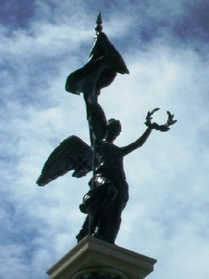 """Liberty"" atop Civil War Soldiers' and Sailors' Memorial image. Click for full size."