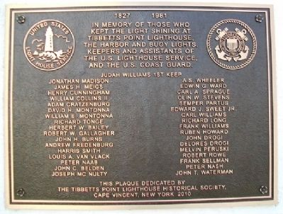 Tibbetts Point Lighthouse Keepers Marker image. Click for full size.