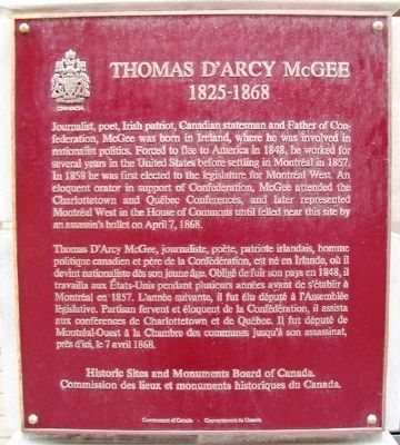 Thomas D'Arcy McGee Marker image. Click for full size.