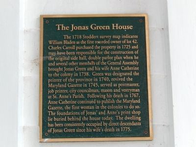 The Jonas Green House Marker image. Click for full size.