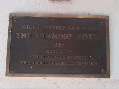 Biltmore Hotel Historic Preservation Award image. Click for full size.