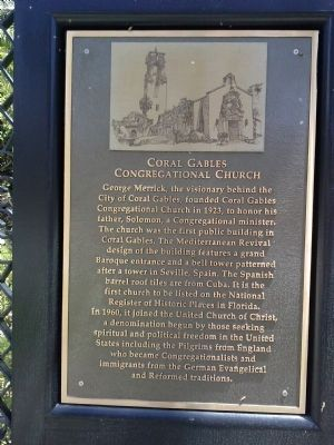 Coral Gables Congregational Church Marker image. Click for full size.