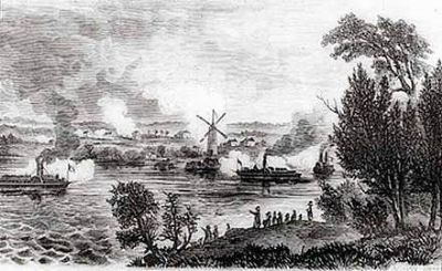 Contemporary Sketch of the Battle of the Windmill image. Click for full size.