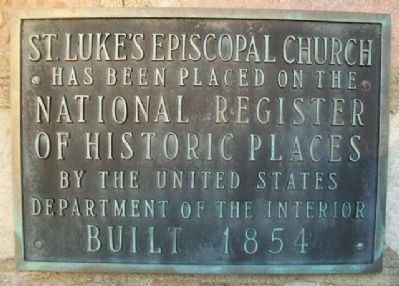St. Luke's Episcopal Church NRHP Marker image. Click for full size.