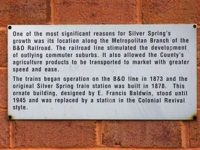 Silver Spring B & O Railroad Station Marker image. Click for full size.
