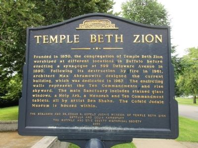 Temple Beth Zion Marker image. Click for full size.