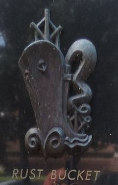 """Rust Bucket"" - Close-up of the monument's Liberty Ship motif image. Click for full size."