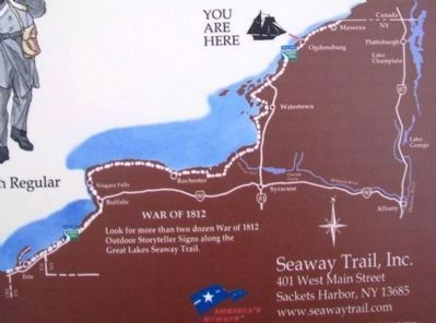 Map of Seaway Trail War of 1812 Wayside Markers image. Click for full size.