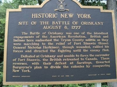 Site of The Battle of Oriskany Marker (Restored) image. Click for full size.