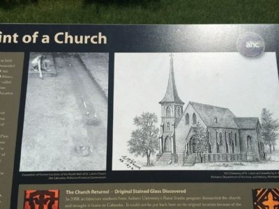 Photo of church & old location image. Click for full size.