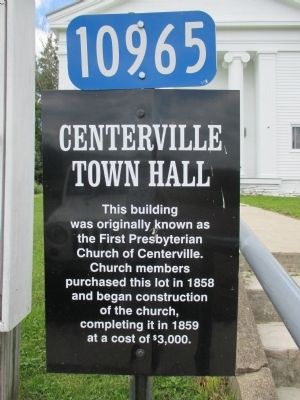 Centerville Town Hall Marker image. Click for full size.