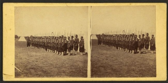 Company E, 5th Regiment N.Y. Zouaves, Colonel Duryee, at Camp Butler, near Fortress Monroe, Va. image. Click for full size.