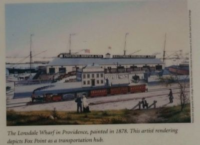 The Lonsdale Wharf in Providence, painted in 1878. This artist image. Click for full size.