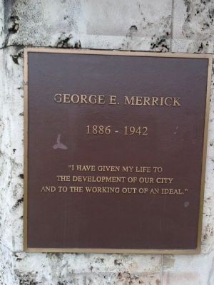 George E. Merrick Marker image. Click for full size.