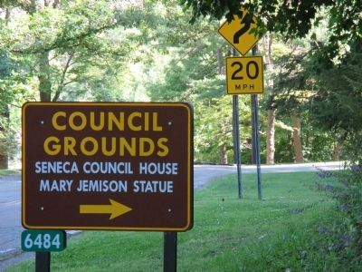 Seneca Council Grounds Access Road Sign image. Click for full size.