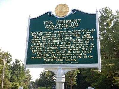 The Vermont Sanatorium Marker image. Click for full size.