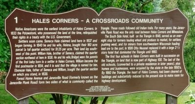 Hales Corners – A Crossroads Community Marker image. Click for full size.