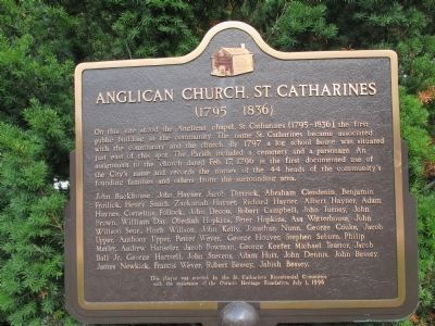 Anglican Church, St. Catharines Marker (post) image. Click for full size.
