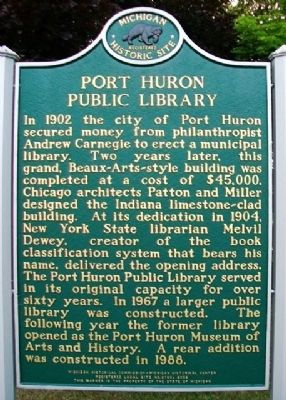 Port Huron Public Library Marker image. Click for full size.