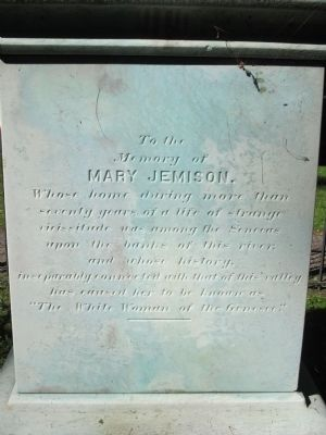 To the Memory of Mary Jemison Marker image. Click for full size.