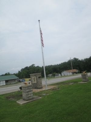 Ohio State Eagles Recreation Park flag pole and multiple markers image. Click for full size.