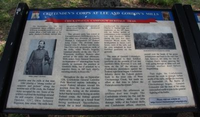 Crittenden's corps at Lee and Gordon's Mills Marker image. Click for full size.