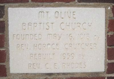 Mt. Olive Baptist Church Dedication Plaque image. Click for full size.