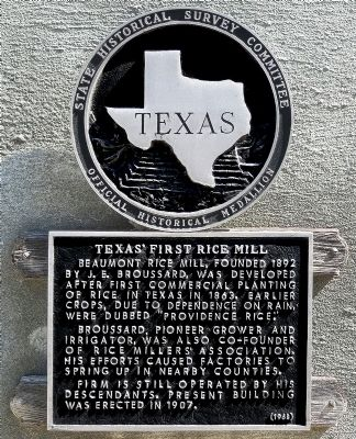 Texas' First Rice Mill Marker image. Click for full size.