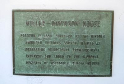 Miller-Davidson House Plaque image. Click for full size.