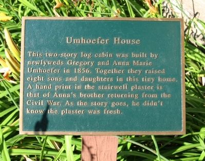 Umhoefer House Marker image. Click for full size.