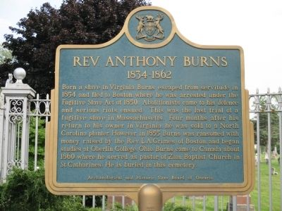 Rev. Anthony Burns 1834-1862 Marker image. Click for full size.
