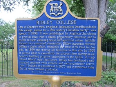 Ridley College Marker image. Click for full size.