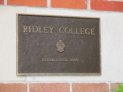 Ridley College Right Plaque at Entrance by Marker image. Click for full size.