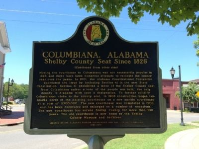 Columbiana, Alabama Marker (side 2) image. Click for full size.