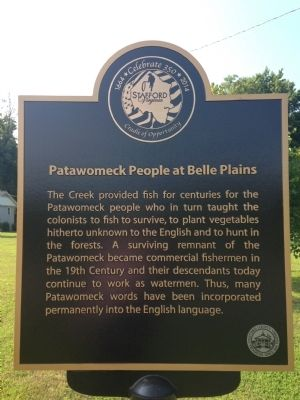 Patawomeck People at Belle Plains Marker image. Click for full size.