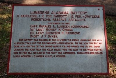 Lumsden's Alabama Battery Marker image. Click for full size.